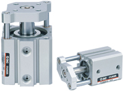 Built-in guide rod in the CQS and CQ2 series compact cylinders. Non-rotating accuracy: ±0.2° or less Lateral load resisting 2 to 4 times ? Compared to compact cylinder ?Series CQ Load can be directly mounted. Mounting dimensions compatible with the CQS and CQ2 series. With auto switch (Series CDQM: CDQM)